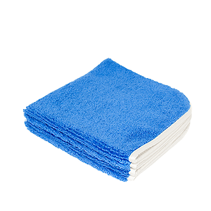 A blue microfiber towel is displayed with a blank background