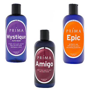 Three bottles of Prima car care products are displayed